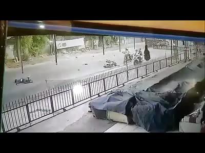 Instant Death...Motorcyclist Runs Head On into Construction Truck