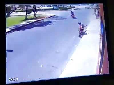 Truck crashes motorcyclist.
