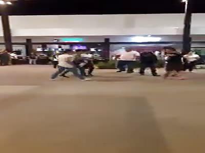 Fight outside the stadium. Yucatan, Mexico.