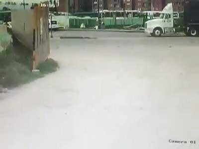 dumper crushes motorcyclist head