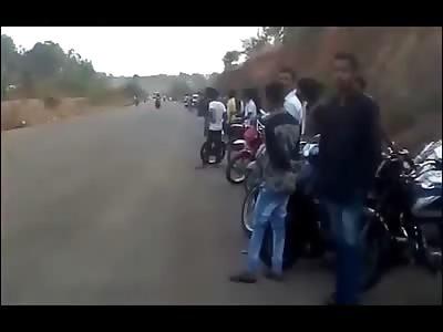 Brutal Stunt Collision between Motorcycles