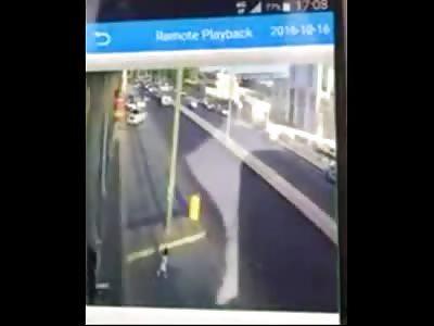 Poor Little Kid runs into the Street to Meet a Truck