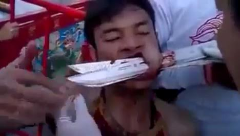 Bizarre Ritual goes Wrong as Man has Knives Shoved through his Mouth