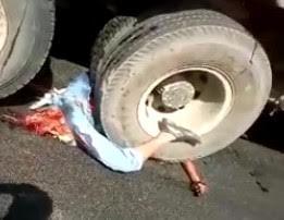 Destroyed under the truck tires