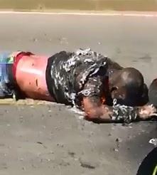 2 Men after Motorcycle Joyride..Burning Alive next to his Bike