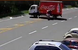 Coca Cola Billboard Sign vs. Motorcyclist..Who ya Got!?