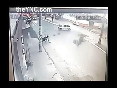 Rider Flies After Collision