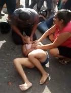 Girl screams in pain with broken leg