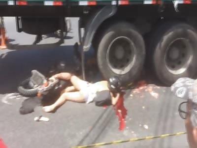 Pretty Girl Crushed By Trucks Wheels