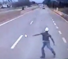 Suicide Man Runs Head First into Semi-Truck (3 Angles)