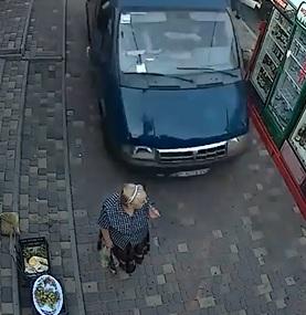 Moronic Asshole Hits Old Lady on a Sidewalk