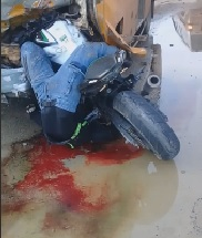 Biker Twisted Like a Pretzel after Hitting School Bus
