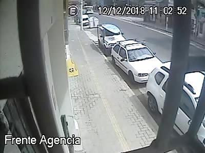 Head on Collision Bus vs Car Crushes Pedestrian Against Wall