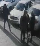 Walk up Rifle Execution on Two Men Talking on a Sidewalk