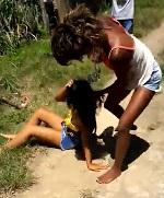 Cute Girl ass Beat by Another Cute Girl