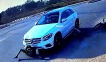 Mercedes Hits Then Drags Biker