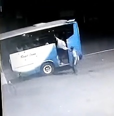 Guy Standing in Doorway of Bus Killed by Annoyed Passenger