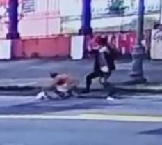 Scumbag Attacks Elderly Woman with Iron Rod on Street