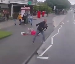 Scumbag Topples Elderly Woman