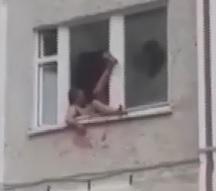 Moronic Bleeding Drunk Guy Falls Out of Window