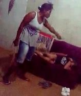 Abusive Wife Beats Weak Husband Like a Bitch