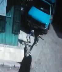 Truck (Drunk Driver?) Crush Two Kids on Sidewalk