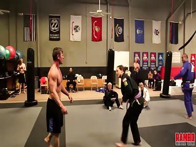 Jiu-Jitsu Girl Puts A Bodybuilder To Sleep