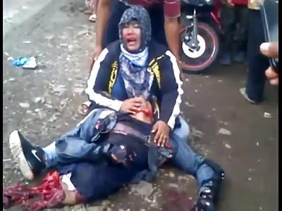 Woman mourns her boyfriend halved in accident