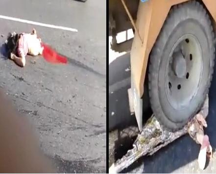 Female Motorcyclist Split In Two By A Truck