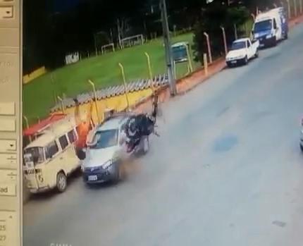True star of YNC: Superman Wannabe Biker Strucks Car and Truck (Watch 2 angles)