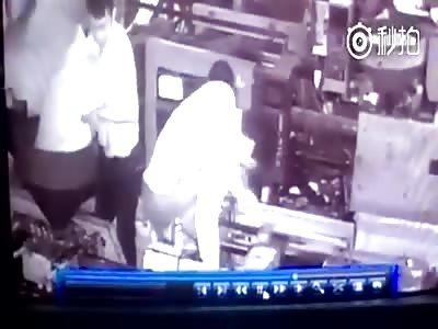 WORKER'S HAND CRUSHED LIKE PANCAKE BY MACHINE