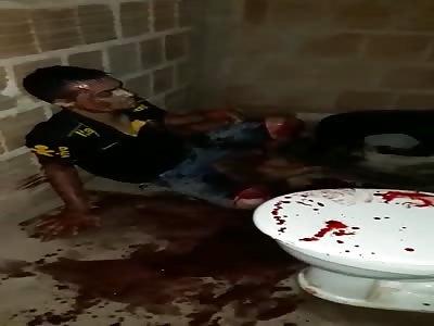 Dying Man in a Bloody Bathroom