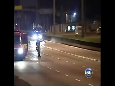 Idiot driver hit horse