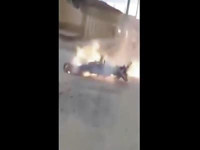 MOTORBIKE ACCIDENT MAN BURNED ALIVE.