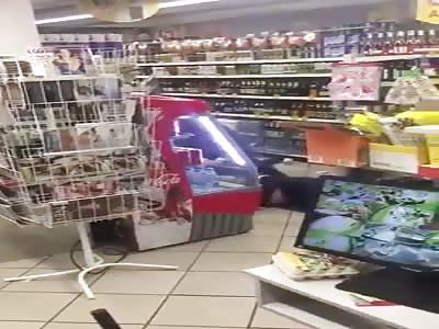 Drunken fight in the store