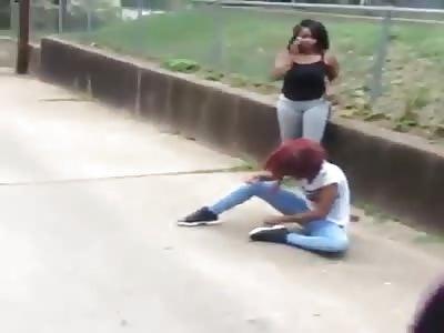 one girl beaten by 3