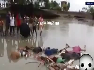 inert bodies floating in river