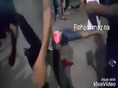 ACCIDENT: bleeding man lies on the pavement