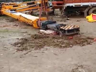 Crane Lands on Indian Worker's Head