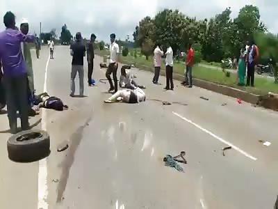 accident on NH4 Near siggaon haveri dist karnataka