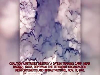 Coalition airstrike destroys an ISIS training camp near Raqqah in east Syria