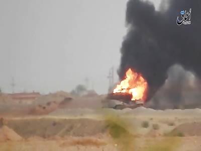 Burning Abrams Tank After Its Destruction
