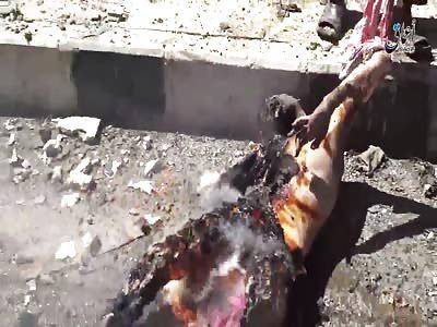 Horrific Scenes - US Aircraft Commited Massacre in Manbij