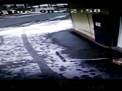 Drifting Bus Crashes into a House