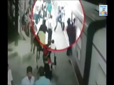Man Falls Off Moving Train