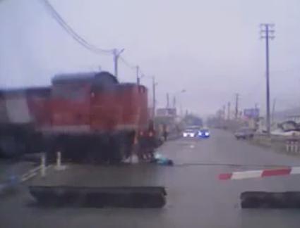 Train Knocks Down Careless Girl On Headphones