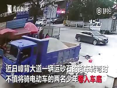 Pillion Passenger Gets Run Over by Truck