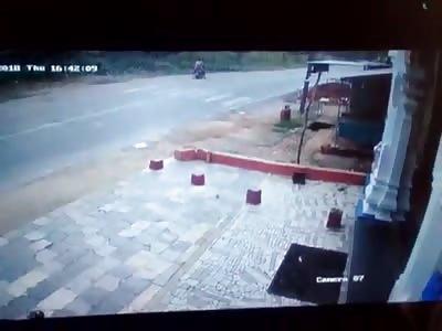 Man Crossing the Road Getting Hit by Speeding Car