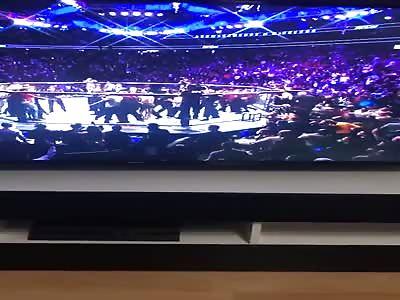 Brawl after Khabib Nurmagomedov defeats Conor McGregor by submission