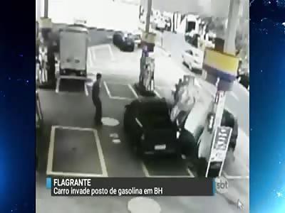 SPEEDING CAR CRASHES INTO GAS PUMP